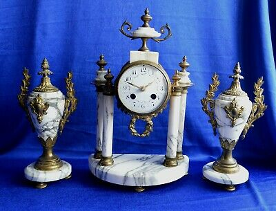 Antique Victorian White Grey Veined Marble Gilt Brass Clock & Garnitures Quartz