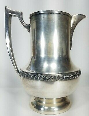 "Solid Antique National Silver On Copper Ornate Water Pitcher #6007 9.5"" Tall"
