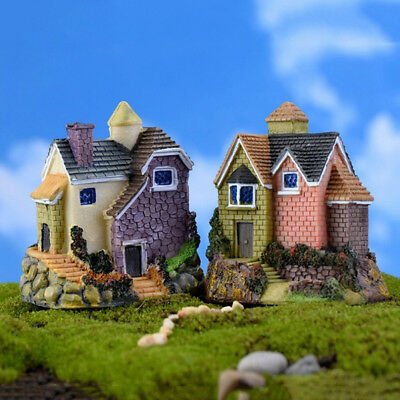 AS_ HK- Fairy Garden Miniature Resin Thatched House Micro Landscape Ornament Dec