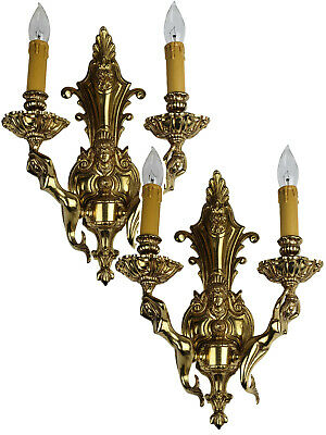 Pair Hollywood Regency Mermaid Vintage Wall Sconces Brass Ornate Antique Spain