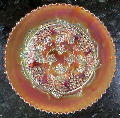"Northwood GRAPE AND CABLE 9"" Spat-Footed Marigold Carnival Glass Plate ca 1908"