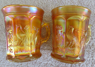 SINGING BIRDS Pair of Northwood Marigold Carnival Glass Mugs circa 1908 -Pretty!