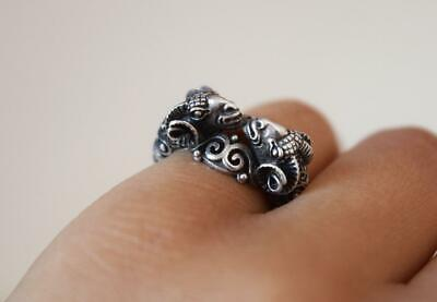 True Vintage Ring - Greek Ram Ancient Design - Real Sterling Silver 925 Jewelry