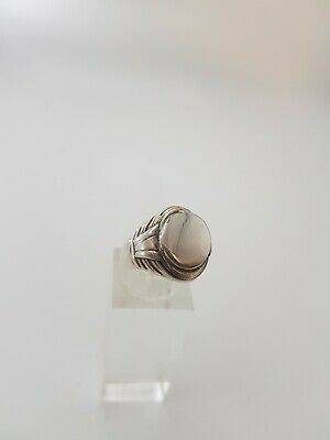 Antiker Silber Siegel Ring 835 blanke Gravurplatte Art Deco 55er (17,6 mm Ø)-Top