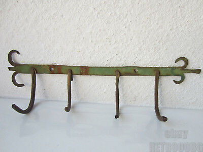 antique primitive iron metal rack w 4 hooks wall hanger shabby > old green paint