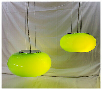 "mid century modern pendant light with Green glass globe 10.5"" diameter"