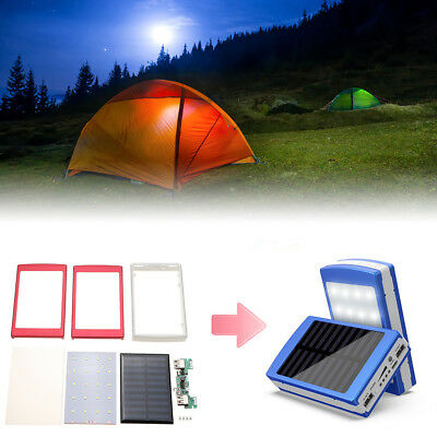 AS_ Solar LED Dual USB Empty Box Case for Power Bank External Battery Charger