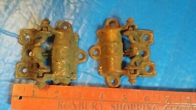 Vtg PAIR of unusual Victorian Cast Iron Spring Loaded Screen Door Hinges