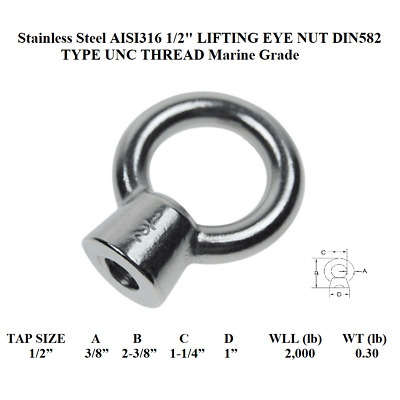 "Stainless Steel AISI316 1/2"" LIFTING EYE NUT DIN582 TYPE UNC THREAD Marine Grade"