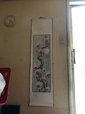 Huge Chinese Painted Fabric Wall Scroll