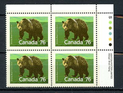 Canada MNH Plate Block #1178i Slater Paper 1989 Grizzly Bear Defin UR K055