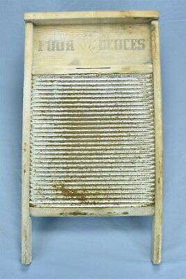 Antique FOUR DEUCES PLAYING CARDS WASHBOARD 84R 2525 LAUNDRY SIZE TIN WOOD 08001