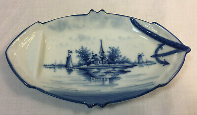 ANTIQUE 18th Century Delft Pottery PIN TRAY Plate * Blue HOME ON ISLAND * ANCHOR