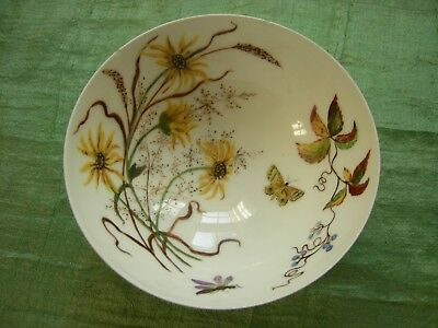 """ANTIQUE LIMOGES H & Co. HAND PAINTED  6"""" BOWL 1884, Floral, Butterflies, Insects"""