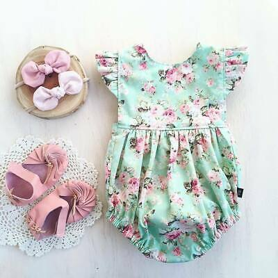 Baby Girls Infant Ruffle Sleeve Romper Bodysuit Jumpsuit Floral Clothes Outfits