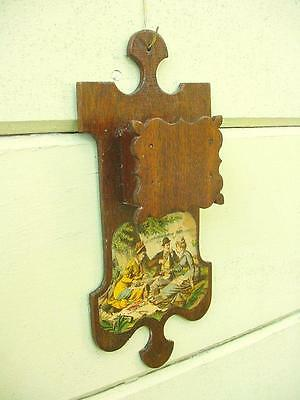 1800s Hand Made Mahogany Hanging Match Holder with Victorian Print Decoration