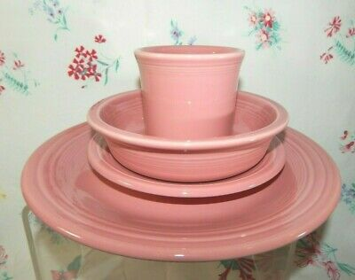 4- Piece Place Setting Fiestaware Rose Pink Dinner & Salad Plate, Bowl & Cup