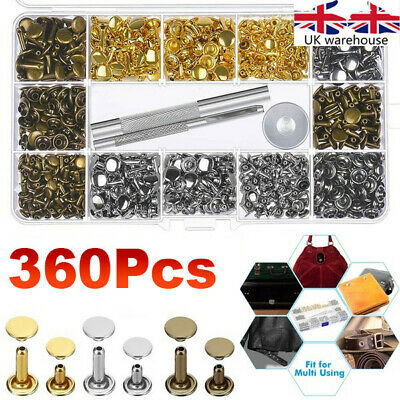 360Pcs Leather Rivets Double Cap Rivet Tubular Metal Studs Setting Tool Kit UK