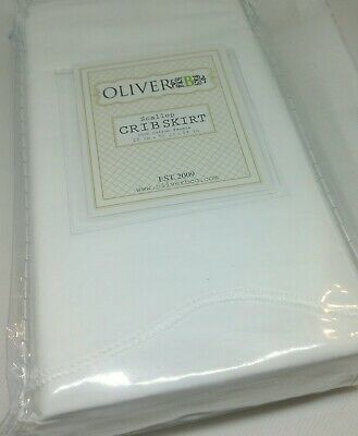 Oliver B Limited Edition Crib Skirt white scalloped 100% Cotton NEW in Package