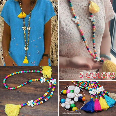 1Pc Tassel Butterfly Necklace Women Handmade White Butterfly Wood Beads Pendants