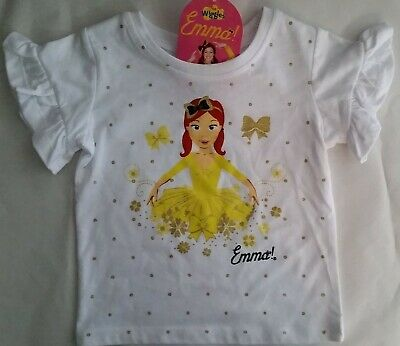 THE WIGGLES EMMA WIGGLE Licensed Girl tee t shirt top ruffle NEW sizes 1-5