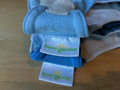 Bumgenius baby diapers washable, cloth re-usable lot of 3: 2 size SM, 1 size MD
