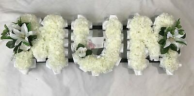 Mum Artificial Silk Funeral Flower Any 3 Letter Word Name Tribute Memorial Nan