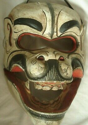 VINTAGE ASIAN WOODEN MASK Hand-Painted