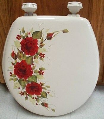Pleasing Hand Painted Roses Toilet Seat Elongated Bone Pink Roses Lamtechconsult Wood Chair Design Ideas Lamtechconsultcom