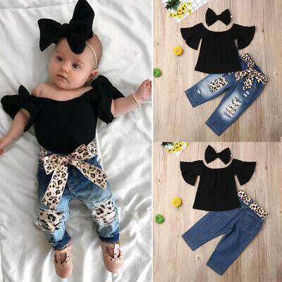 AU Toddler Kids Baby Girl Off Shoulder Top Denim Pants Outfit Clothes Headband