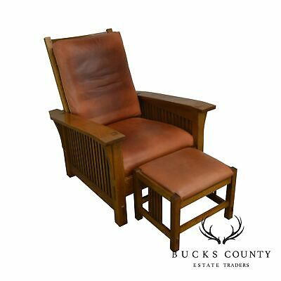 Stickley Mission Collection Oak Spindle Morris Chair W/ Footstool