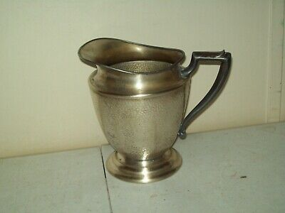 vintage Silver Plate on Nickel hammered water pitcher no. 429-66 pewter handle