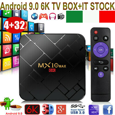 2019 MX10MAX 4+32G Android 9.0 Pie 6K 3D TV BOX Quad Core WIFI HDR Media Player
