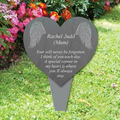 Personalised Heart Memorial Plaque Grave Sign, Angel Grave Marker Slate Effect