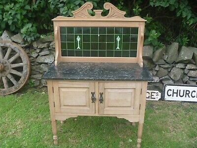Antique Victorian Marble top Wash Stand With Tiled Back