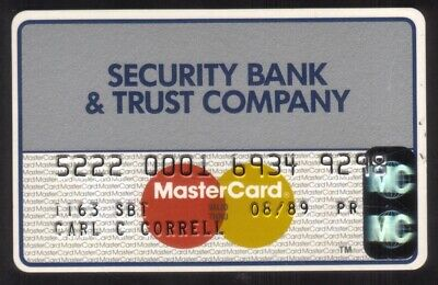 Security Bank & Trust Company MasterCard Credit Card Exp 08/89