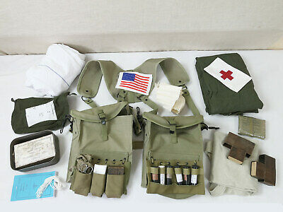 Us Wk2 Medic Suspenders System Pouches Harness + Armbinde Red Cross Sani