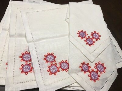 Linen Hand Embroidered in Twer Russia 10 Table Dinner Napkins Flower Floral *
