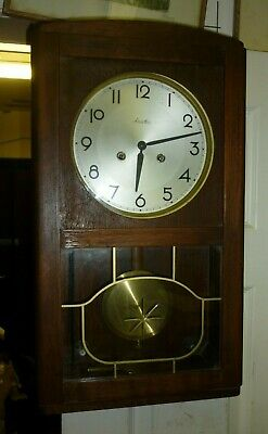 Good Antique Oak Friedrich Mauthe 8 Day Ting Tang Double Striking Wall Clock