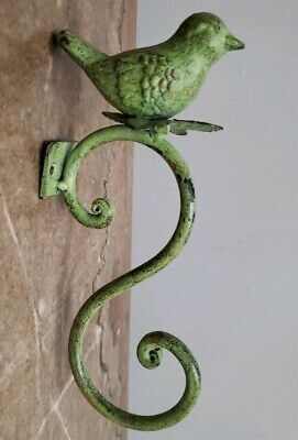 GREEN Metal Cast Iron Garden Hanging Hook BIRD Wall Coat Rack Chic Style NWOT