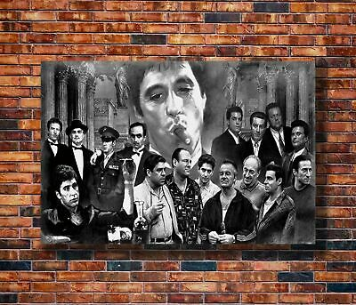 W826 Art Gangsters Godfather Goodfellas Scarface Sopranos Movie Poster Hot Gift