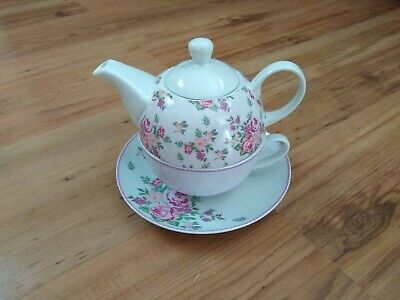 Crompton Tea For One Teapot Tea Cup & Saucer Pink White Floral VGC