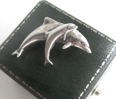 Charming 925 Silver Hallmarked Dolphin Mother & Child Brooch