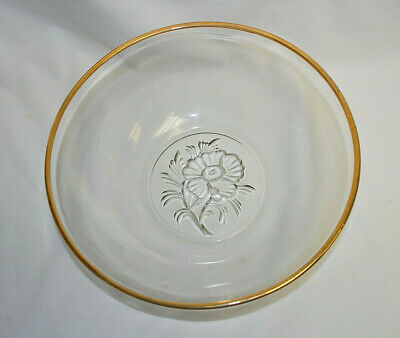 Clear Glass Serving Bowl with Gold Rim and Flower Cut-out on Bottom Vtg. S9019