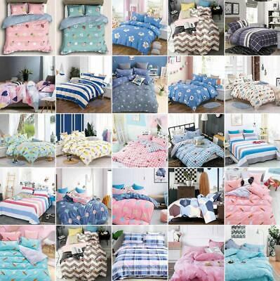 Pattern Printed Bedding Set With Cotton Quilt Duvet Cover Set Flat Sheet Luxury