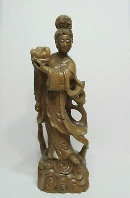 """Fine Old Large Chinese Hardwood Carved Immortal Fairy Figure Statue 19-3/4"""""""