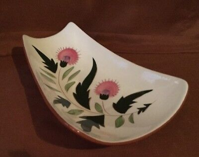 VINTAGE STANGL THISTLE PATTERN FOOTED RELISH BREAD TRAY Great Gently Used Cond