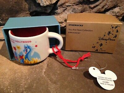 Disney Parks Hollywood Studios Starbucks You Are Here Mug Ornament Red Lined NWT