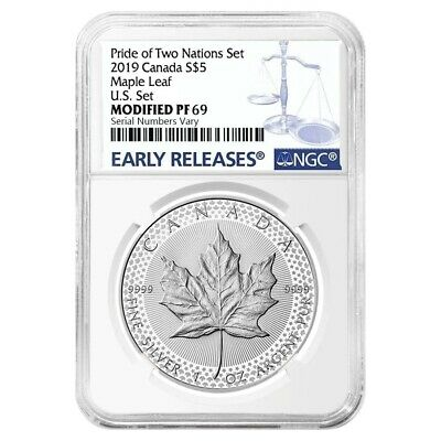 2019 1 oz Modified Proof Silver Canadian Maple NGC PF 69 (Pride of Two Nations)
