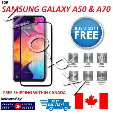 Fits Samsung Galaxy A50 & A70 Full Cover Premium Tempered Glass Screen Protector